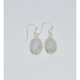 925 SOLID STERLING SILVER WHITE RAINBOW MOONSTONE HOOK EARRING- 1.1 INCH