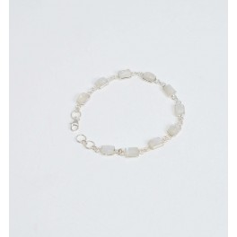 925 SOLID STERLING SILVER WHITE RAINBOW MOONSTONE BRACELET- 7.2 INCH
