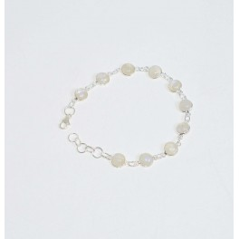 925 SOLID STERLING SILVER WHITE RAINBOW MOONSTONE BRACELET- 8.2 INCH