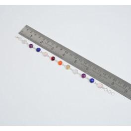 925 SOLID STERLING SILVER PINK ROSE QUARTZ MIX STONE BRACELET- 8.3 INCH
