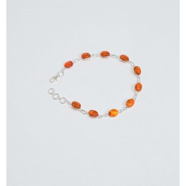 925 SOLID STERLING SILVER YELLOW AMBER BRACELET- 8.2 INCH