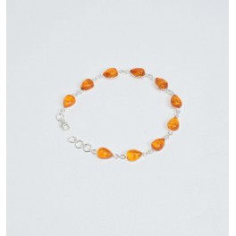 925 SOLID STERLING SILVER YELLOW AMBER BRACELET- 8.5 INCH