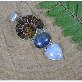 925 SOLID STERLING SILVER FOSSIL LABRADORITE MIX STONE PENDANT-3 INCH