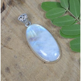 925 SOLID STERLING SILVER WHITE RAINBOW MOONSTONE PENDANT-2 INCH