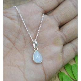 925 SOLID STERLING SILVER WHITE RAINBOW MOONSTONE CHAIN PENDANT-16 INCH
