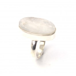 925 SOLID STERLING SILVER ROUGH WHITE RAINBOW MOONSTONE RING-6.5 US