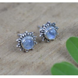 925 SOLID STERLING SILVER WHITE RAINBOW MOONSTONE STUD EARRING
