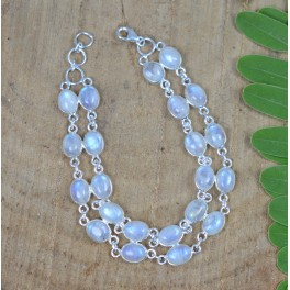 925 SOLID STERLING SILVER WHITE RAINBOW MOONSTONE BRACELET- 8 INCH