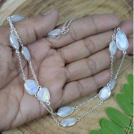 925 SOLID STERLING SILVER WHITE RAINBOW MOONSTONE NECKLACE- 30 INCH