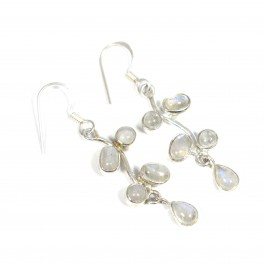 925 SOLID STERLING SILVER WHITE RAINBOW MOONSTONE HOOK EARRING- 1.8 INCH