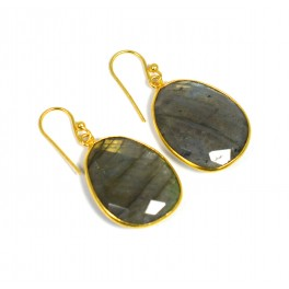 925 SOLID STERLING SILVER 24CT GOLD OVERLAY LABRADORITE HOOK EARRING-1.5 INCH