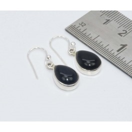 925 SOLID STERLING SILVER BLACK ONYX HOOK EARRING-1.1 INCH