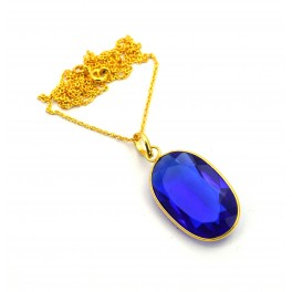 925 SOLID STERLING SILVER 24CT GOLD OVERLAY CUT BLUE QUARTZ CHAIN PENDANT