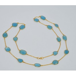 925 SOLID STERLING SILVER  24CT GOLD OVERLAY BLUE CHALCEDONY NECKLACE