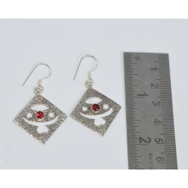 925 SOLID STERLING SILVER FACETED RED GARNET HOOK EARRING 1.7  INCH