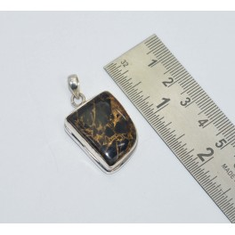 925 SOLID STERLING SILVER BLACK COPPER TURQUOISE PENDANT 1.5  INCH