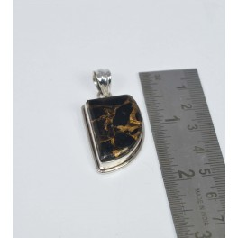 925 SOLID STERLING SILVER BLACK COPPER TURQUOISE PENDANT 1.7 INCH