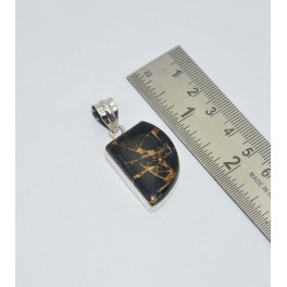925 SOLID STERLING SILVER BLACK COPPER TURQUOISE PENDANT 1.6 INCH