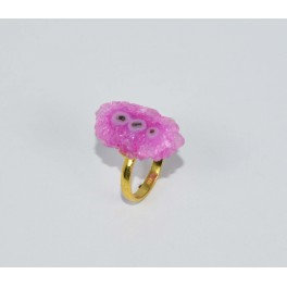 925 SOLID STERLING SILVER  24CT GOLD OVERLAY PINK SOLAR DRUZY RING- 6 US