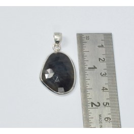 925 SOLID STERLING SILVER FACETED  MULTI SAPPHIRE PENDANT 1.6 INCH