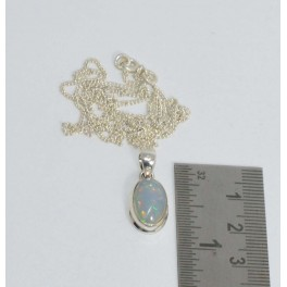 925 SOLID STERLING SILVER ETHIOPIAN OPAL CHAIN PENDANT 19 INCH