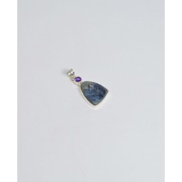 925 SOLID STERLING SILVER BLUE PIETERSITE AMETHYST PENDANT- 1.7 INCH