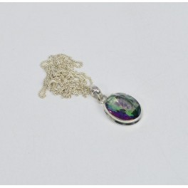 925 SOLID STERLING SILVER MYSTIC TOPAZ CHAIN PENDANT-19.1 INCH