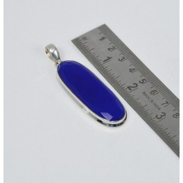 925 SOLID STERLING SILVER BLUE SAPPHIRE PENDANT- 2.7 INCH