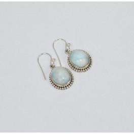 925 SOLID STERLING SILVER BLUE LARIMAR HOOK EARRING-1.1 INCH