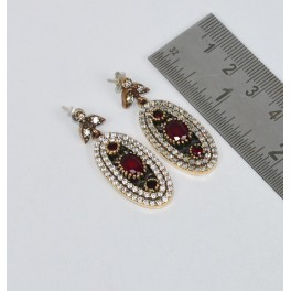 925 SOLID STERLING SILVER RED RUBY CUBIC ZIRCONIA TURKISH STUD EARRING