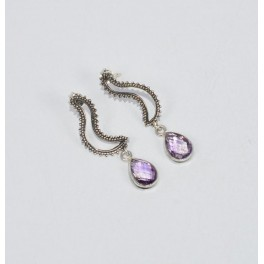 925 SOLID STERLING SILVER FACETED PURPLE AMETHYST STUD EARRING-1.5 INCH