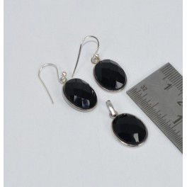 925 SOLID STERLING SILVER FACETED BLACK ONYX PENDANT EARRING SET