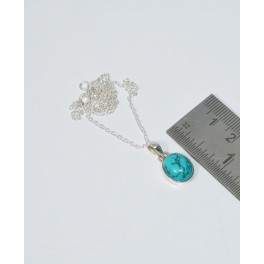 925 SOLID STERLING SILVER BLUE TURQUOISE CHAIN PENDANT- 18.8 INCH