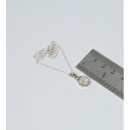 925 SOLID STERLING SILVER GOLDEN RUTILE CHAIN PENDANT- 15.7 INCH