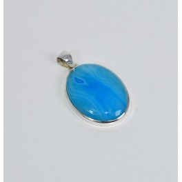 925 SOLID STERLING SILVER BLUE BOTSWANA AGATE PENDANT-2 INCH