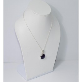 925 SOLID STERLING SILVER STAR AMETHYST CHAIN PENDANT-16.2 INCH