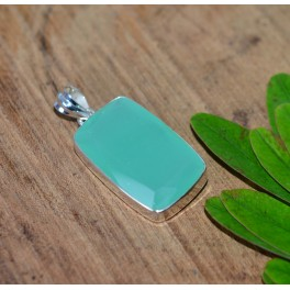 925 SOLID STERLING SILVER FACETED AQUA CHALCEDONY PENDANT-1.7 INCH O