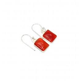 925 SOLID STERLING SILVER RED CARNELIAN HOOK EARRING-0.8 INCH