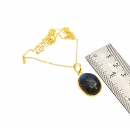 925 SOLID STERLING SILVER 24CT GOLD OVERLAY LABRADORITE CHAIN PENDANT