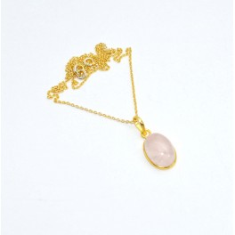 925 SOLID STERLING SILVER 24CT GOLD OVERLAY PINK ROSE QUARTZ CHAIN PENDANT