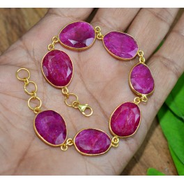 925 SOLID STERLING SILVER 24CT GOLD OVERLAY CUT RED RUBY BRACELET -8.5 INCH