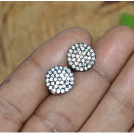 925 SOLID STERLING SILVER 24CT GOLD OVERLAY CUBIC ZIRCONIA STUD EARRING