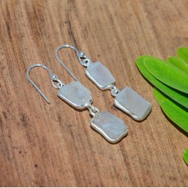 925 SOLID STERLING SILVER ROUGH WHITE RAINBOW MOONSTONE HOOK EARRING