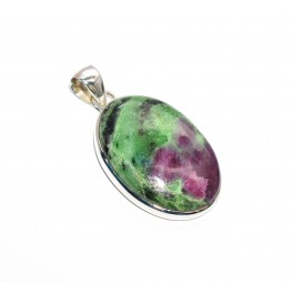 925 SOLID STERLING SILVER RUBY ZOISITE PENDANT-1.6 INCH