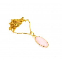 925 SOLID STERLING 24CT GOLD OVERLAY CUT PINK ROSE QUARTZ CHAIN PENDANT