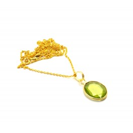 925 SOLID STERLING SILVER 24CT GOLD OVERLAY CUT GREEN PERIDOT CHAIN PENDANT