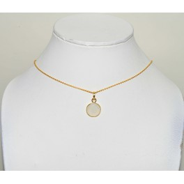 925 SOLID STERLING 24CT GOLD OVERLAY WHITE RAINBOW MOONSTONE CHAIN PENDANT