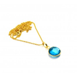 925 SOLID STERLINGSILVER 24CT GOLD OVERLAY CUT TEAL BLUE QUARTZ CHAIN PENDANT