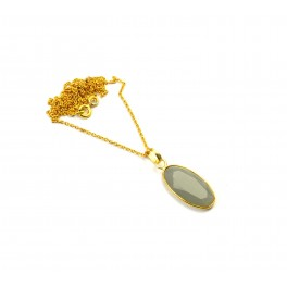 925 SOLID STERLING SILVER 24CT GOLD OVERLAY CUT GRAY CHALCEDONY CHAIN PENDANT