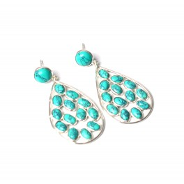 925 SOLID STERLING SILVER BLUE TURQUOISE STUD PUSH EARRING -1.7 INCH